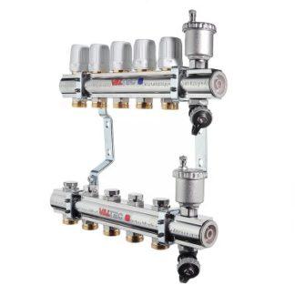 Коллекторный блок Valtec латунный c термостатическими и балансировочными клапанами (VTc.594.EMNX)